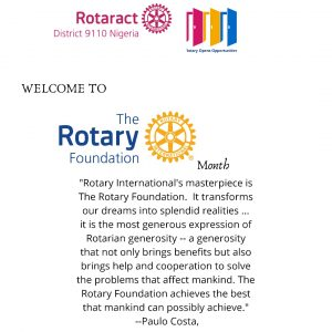 The Rotary Foundation Month Message by the DRR – NOVEMBER 2020